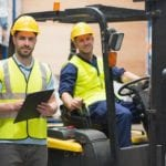 men in forklift
